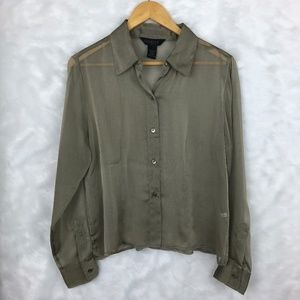 Express Olive Green Sheer Button Down - Size 9/10